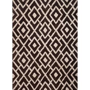 Lifestyle White and Dark Brown Rectangular: 5 Ft x 8 Ft Rug