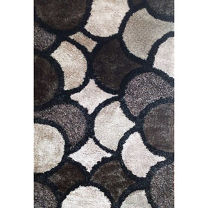Lifestyle Grey and Brown Rectangular: 5 Ft x 8 Ft Rug