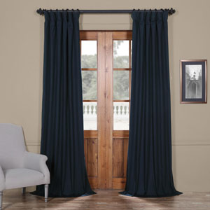 Polo Navy 50 x 84-Inch Solid Cotton Blackout  Curtain