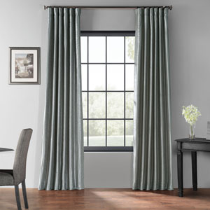 Storm Gray 50 x 96-Inch Blackout Vintage Textured Faux Dupioni Silk Curtain