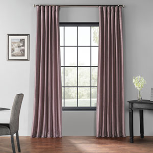 Smokey Plum 50 x 108-Inch Blackout Vintage Textured Faux Dupioni Silk Curtain