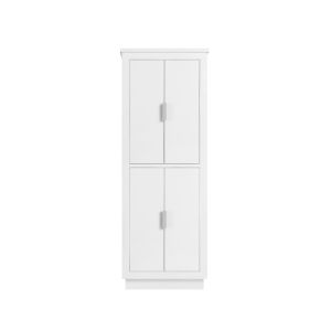 White 65-Inch Linen Tower with Silver Trim