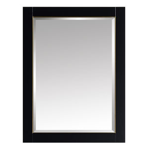 Black 24-Inch Mirror with Gold Trim