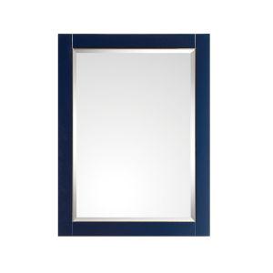 Navy Blue 24-Inch Mirror with Gold Trim