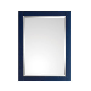 Navy Blue 24-Inch Mirror with Silver Trim