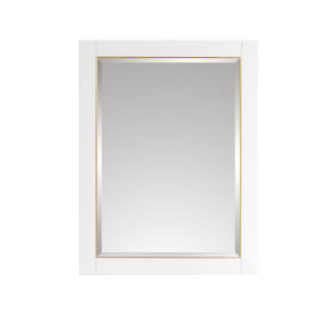 White 24-Inch Mirror with Gold Trim