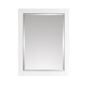 White 24-Inch Mirror with Silver Trim