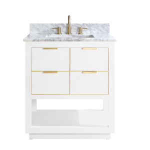 White 31-Inch Bath vanity with Gold Trim and Carrara White Marble Top
