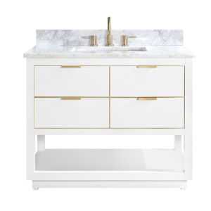 White 43-Inch Bath vanity with Gold Trim and Carrara White Marble Top