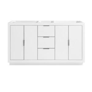 White 60-Inch Austen Bath Vanity Cabinet with Silver Trim