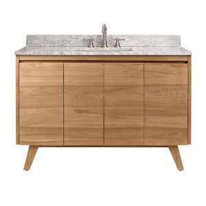 Uptown 49-Inch Vanity in Natural Teak with Carrara White Top