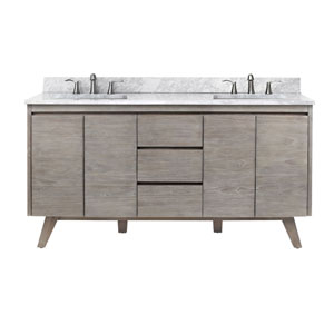 Coventry 61 inch Vanity in Gray Teak with Carrara White Top
