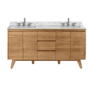 Coventry 61 inch Vanity in Natural Teak with Carrara White Top