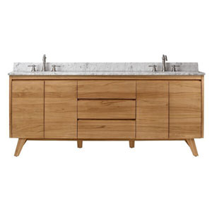 Uptown 73-Inch Vanity in Natural Teak with Carrara White Top