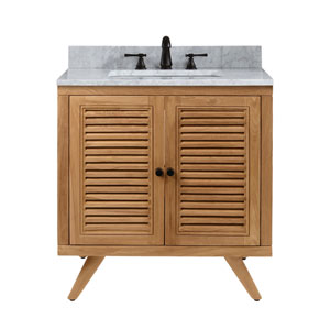 Harper 31 inch Vanity in Natural Teak with Carrara White Top