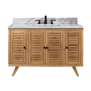 Harper 49 inch Vanity in Natural Teak with Carrara White Top