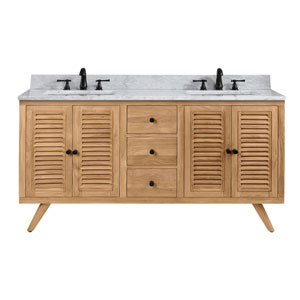 Harper 61 inch Vanity in Natural Teak with Carrara White Top