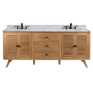 Harper 73 inch Vanity in Natural Teak with Carrara White Top