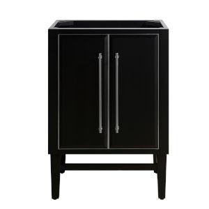 Black 24-Inch Bath Vanity Cabinet with Silver Trim