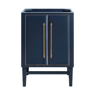 Navy Blue 24-Inch Bath vanity Cabinet with Gold Trim