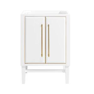 White 24-Inch Mason Bath vanity Cabinet with Gold Trim