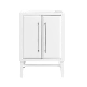 White 24-Inch Mason Bath vanity Cabinet with Silver Trim
