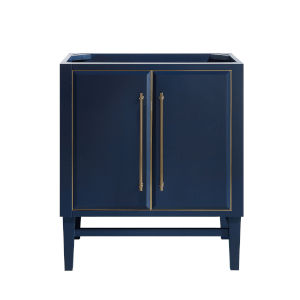 Navy Blue 30-Inch Bath vanity Cabinet with Gold Trim