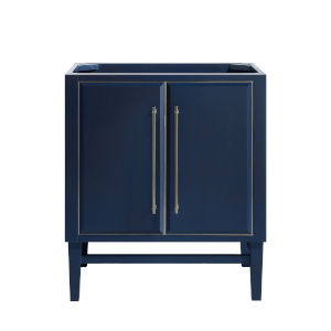 Navy Blue 30-Inch Bath vanity Cabinet with Silver Trim