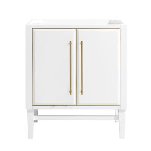 White 30-Inch Mason Bath vanity Cabinet with Gold Trim