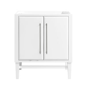 White 30-Inch Mason Bath vanity Cabinet with Silver Trim