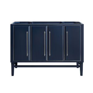 Navy Blue 48-Inch Bath vanity Cabinet with Silver Trim