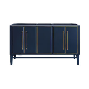 Navy Blue 60-Inch Bath vanity Cabinet with Gold Trim