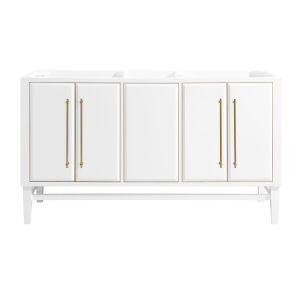 White 60-Inch Mason Bath vanity Cabinet with Gold Trim