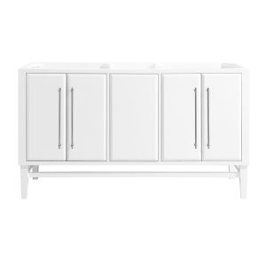 White 60-Inch Mason Bath vanity Cabinet with Silver Trim