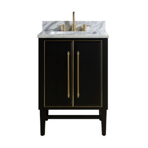 Black 25-Inch Bath vanity Set with Gold Trim and Carrara White Marble Top