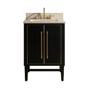 Black 25-Inch Bath vanity Set with Gold Trim and Crema Marfil Marble Top