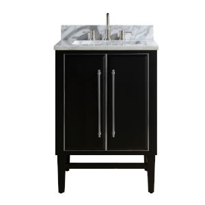 Black 25-Inch Bath vanity Set with Silver Trim and Carrara White Marble Top