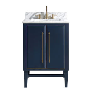 Navy Blue 25-Inch Bath vanity Set with Gold Trim and Carrara White Marble Top