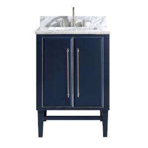 Navy Blue 25-Inch Bath vanity Set with Silver Trim and Carrara White Marble Top