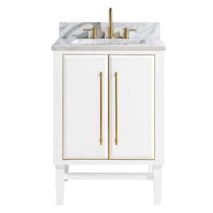 White 25-Inch Bath vanity Set with Gold Trim and Carrara White Marble Top