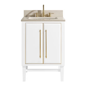 White 25-Inch Bath vanity Set with Gold Trim and Crema Marfil Marble Top