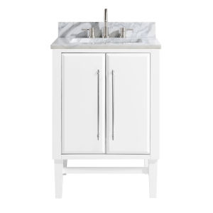 White 25-Inch Bath vanity Set with Silver Trim and Carrara White Marble Top