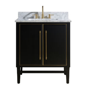 Black 31-Inch Bath vanity Set with Gold Trim and Carrara White Marble Top