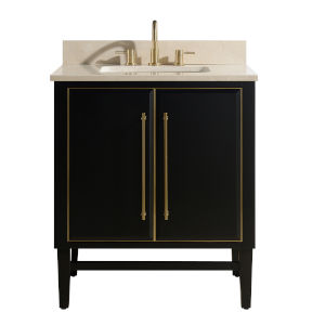 Black 31-Inch Bath vanity Set with Gold Trim and Crema Marfil Marble Top