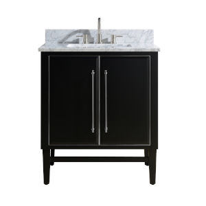 Black 31-Inch Bath vanity Set with Silver Trim and Carrara White Marble Top
