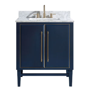 Navy Blue 31-Inch Bath vanity Set with Gold Trim and Carrara White Marble Top