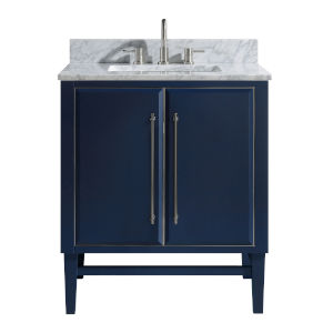Navy Blue 31-Inch Bath vanity Set with Silver Trim and Carrara White Marble Top