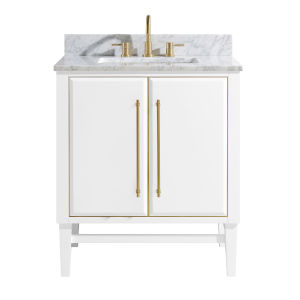 White 31-Inch Bath vanity Set with Gold Trim and Carrara White Marble Top