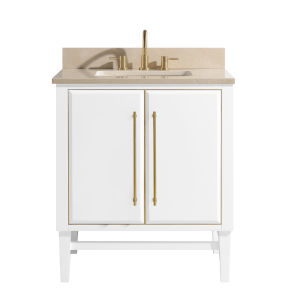 White 31-Inch Bath vanity Set with Gold Trim and Crema Marfil Marble Top