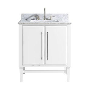 White 31-Inch Bath vanity Set with Silver Trim and Carrara White Marble Top